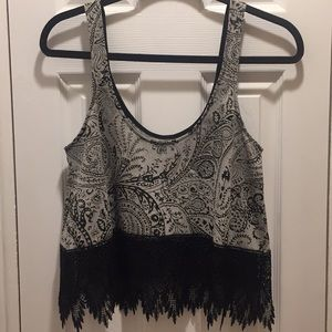 Free People sheer design lace bottom top